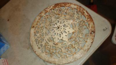 "Ornate  Cast Iron Heat Grate Round Vintage 15"" Diameter Removable Center"