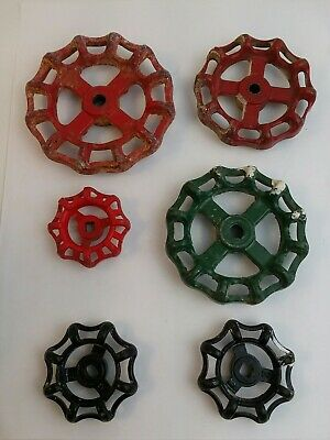 (6) Vintage water Valve Handles knobs ,Steampunk Industrial Arts