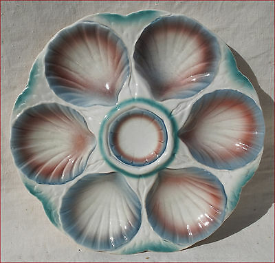 French Oyster Plate Hand Painted Faience Sarreguemines Digoin Late 19th C