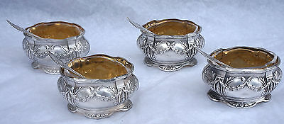 French Vermeil Sterling Silver Set 4 Open Salt Cellar Spoon G Veyrat Paris 1900