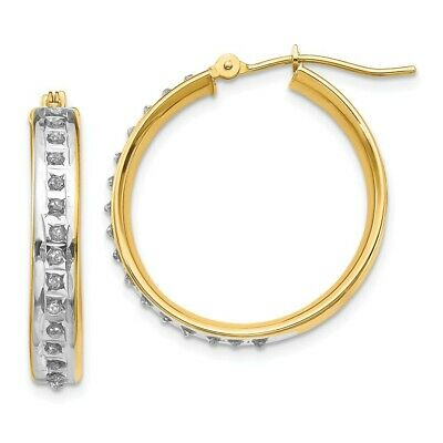 14k Yellow Gold Diamond Fascination Squared Hinged Hoop Earrings 21mm x 3mm