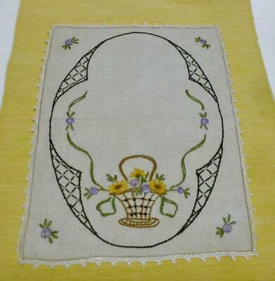 """Pretty Vintage Rectangle 9"""" x 12"""" White Linen Doily W/ Embroidered Flower Basket"""