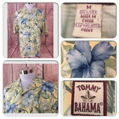 Exc Cond Tommy Bahama Mens M 100% Silk Floral Copyrighted Print Hawaiian Shirt