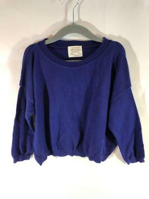 f29b3b1e Zara Girls Blue Oversize Sweater with Brown Elbow Patches Size 4-5 Years