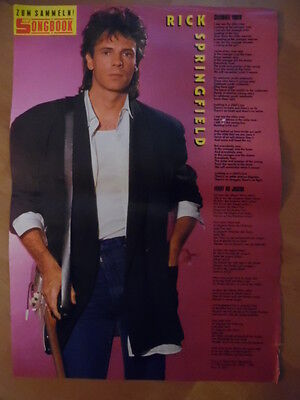 RICK SPRINGFIELD celebrate youth BRAVO A4 Songbook Clipping 191