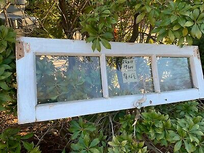 Vintage Basement Window sash 1 old 3 pane 34 x 11 From 1940s Arts & Crafts