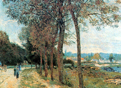 Beautiful artwork Oil painting Alfred Sisley - The Seine at Marly landscape 36""