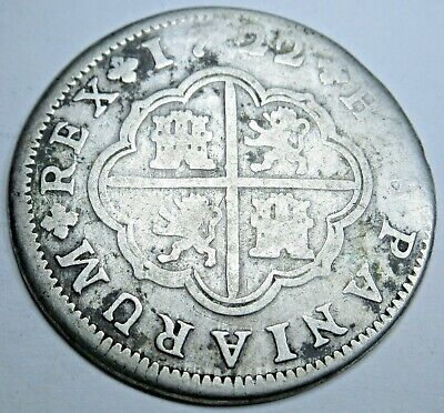 1722 Spanish Silver 2 Reales Piece of 8 Real Colonial Era Two Bits Pirate Coin