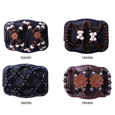 Two Flower Beads Stretchy Hair Combs Double Comb Clip Hairpins For Womens D