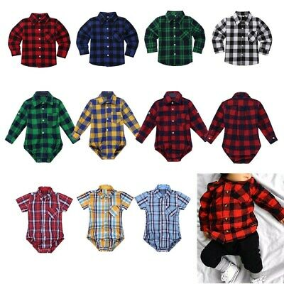 Toddler Kids Baby Boys Cotton Plaid Tops Shirt Long/Short Sleeve T-shirt Romper
