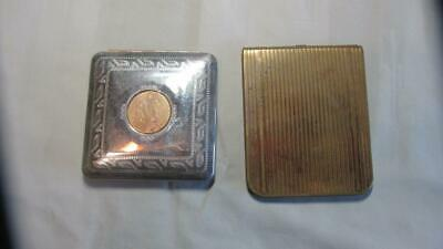 Pair Vintage Compacts, One Double Mirror, plus Antique Silver Napkin Holder