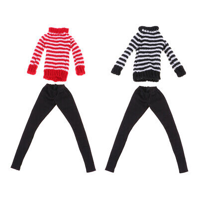 Casual Outfits Stripe Knitted Sweater & Trousers For  Winter Accessory