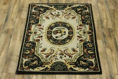 Hand Tufted Rustic Primitive 4x6 Aubusson Indian Oriental Area Rug Wool Carpet