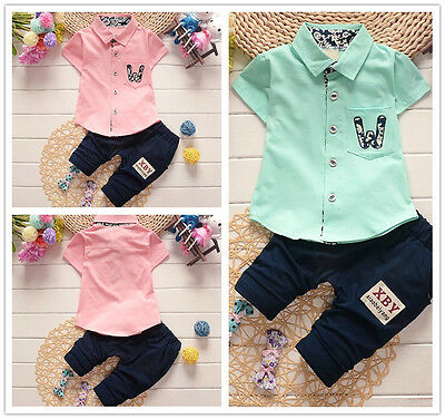 2PCS Toddler Baby Boys Outfits Tops+ Pants Kids Casual Clothes set