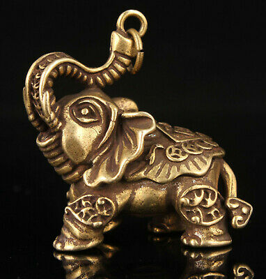 China Old Hand-carved Vintage Brass Mini Elephant Statue Key Chain