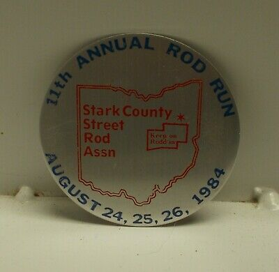 Car Show Dash Plaque, 11h Annual Rod Run, Stark County Street Rod Assn. - 1984