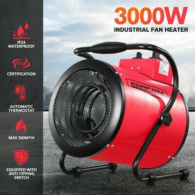 Electric Industrial Fan Heater Workshop Floor Carpet Dryer Blower Garage 3000W