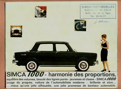 Catalogue Publicitaire - Simca 1000  -