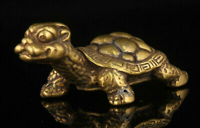 China Collectible Hand-carved Brass Dragon Turtle Desktop Decoration