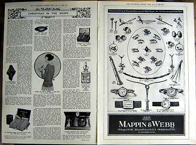 Old Vintage Print 1922 Mappin Webb Jewellers Christmas Medal Silver Bowl 20th