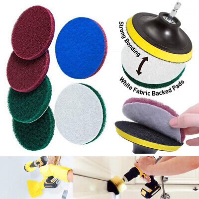 """1 set 4"""" Scrub Pads Drill Power Brush Tile Scrubber Scouring Pads Clean Tool"""