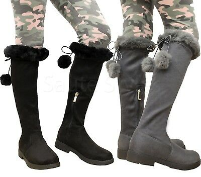 Kids Girls Over The Knee Calf Children Low Heel Pompom Faux Fur Boots Shoes Size