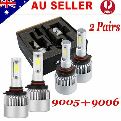 2 Pairs 9005/HB3 9006/HB4 504W LED Globes Headlight Kit Car Beam Bulbs 6500K