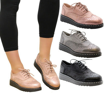 Ladies Womens Casual Lace Up Brogue Loafers Studs Office School Shoes Pumps Size