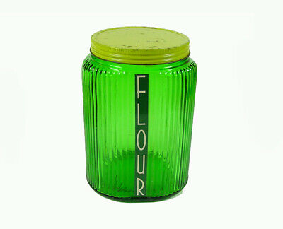 Owens-Illinois-Forest Green - 1940's - Large Canister - Original Lid - New Label
