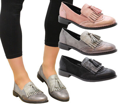 Ladies Womens Slip On Brogue Tassel Loafers Ballerinas Office Pumps Shoes Size