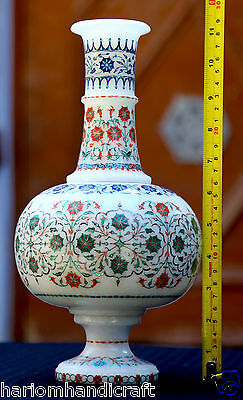 Antique White Marble Flower Pot Micro Mosaic Inlay Handmade Marvelous Gift H1947