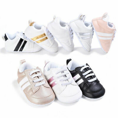 Kid Infant Newborn Baby Boys Girls Pre-Walker Soft Sole Pram Shoes Trainers Size