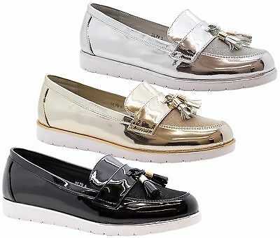 Ladies Womens Flats Casual Slip On Tassel Loafers School Office Pumps Shoes Size