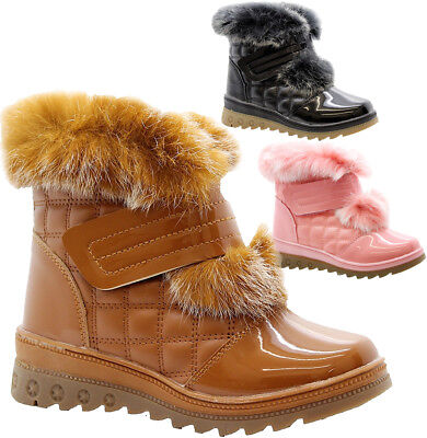 New Girls Kids Winter Snow Warm Bow Faux Fur Zip Flat Grip Sole Shoes Boots Size