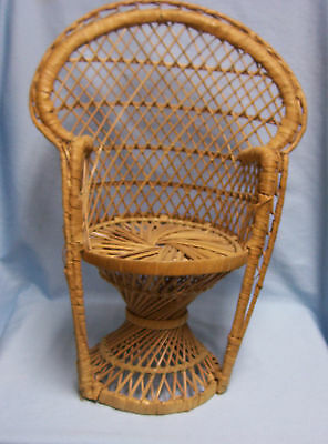 """Wicker High Back Chair for Sitting Doll or Bear  Doll Furniture 16 1/2"""" tall"""