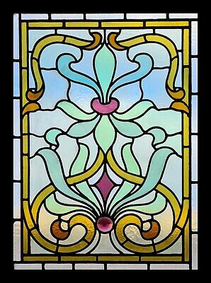 Antique Stained Glass Window AMAZING VICTORIAN Vitrail