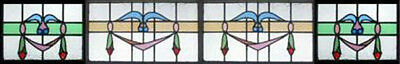 HUGE Set 4 Antique Victorian Stained Glass Windows U.K.
