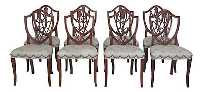 L30735EC: Set Of 8 HICKORY CHAIR CO. Mahogany Shield Back Dining Chairs
