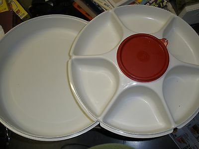 Tupperware Large Divided Party Vegetable Chip Serving Tray Container w/ Lid