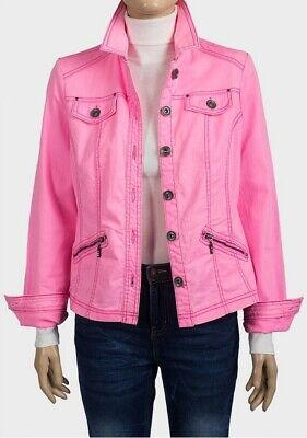 New Womens Ladies Pink Zip Pockets Denim Jacket Size 10 12 14 16 18 20 22 24