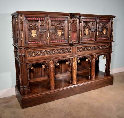 *Large French Antique Gothic Revival Cabinet/Console/Sideboard,Highly Carved Oak