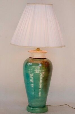 Large Hand Thrown Made Vintage Raku Art Pottery Lamp