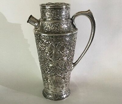Antique BARBOUR Silver plate Cocktail Shaker # 3857 Repousse Dutch Scenes 1920s