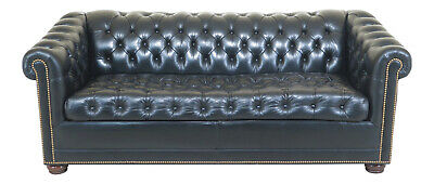 47143EC: English Style Chesterfield Black Leather Sleeper Sofa