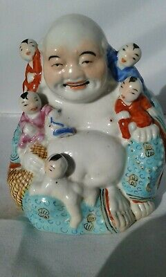 ANTIQUE CHINESE BUDDHA BUDAI WITH CHILDREN  QING DYNASTY H11,5cm