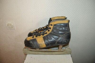 Ancien Patin A Glace Cuir Hockey Ccm Ice Skate Leather Vintage Taille 44