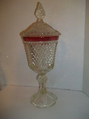 Vintage Cranberry Ruby Glass Band Diamond Point Tall Covered Compote Candy Dish