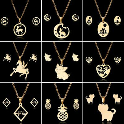 New Fashion Stainless Steel Gold Lovely Animal Cat Earrings Necklace Jewelry Set