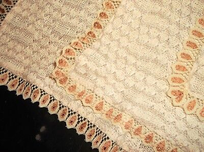 3 Genuine Vintage Fine Knitted Cotton With Lace Trim Table Runners Protectors