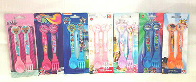Girls Boys Character Fork & Spoon Cutlery Set  MLP LOL Toy Story  + More New